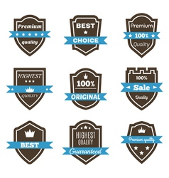 Set of 9 vintage badges shields with ribbons sale vector