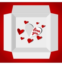 Valentin day with gift box red paper vector