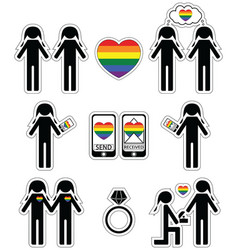Gay women falling in love and engagement icons vector