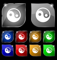 Ying yang icon sign set of ten colorful buttons vector
