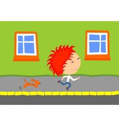 Dog chasing kid vector
