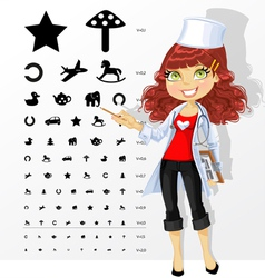Doctor shows children table for eye tests vector