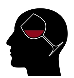 Silhouette of head with red wine glass vector