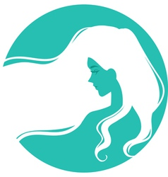 Symbolic logo with woman with long hair vector