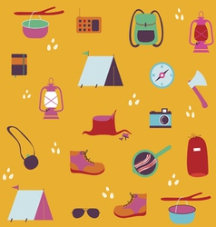 Seamless print with traveler objects vector
