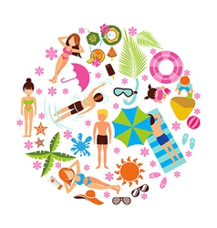 Summer holiday design set on white background vector