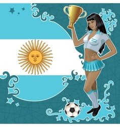 Football poster with girl and argentinean flag vector