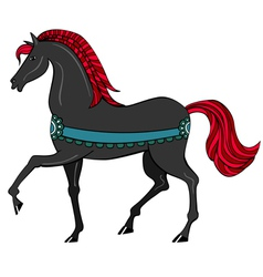 Black horse with red mane vector