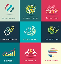 Abstract business and technology icons set vector