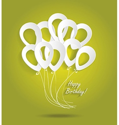 Birthday card with paper ballons vector