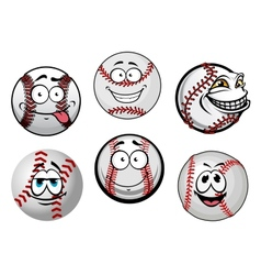 Smiling baseball balls cartoon characters vector