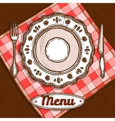 Menu with porcelain plate vector