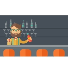 Bartender at the bar holding a drinks vector