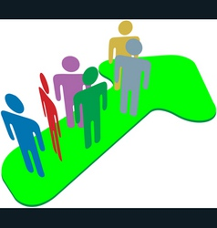 People team on symbol arrow to progress success vector