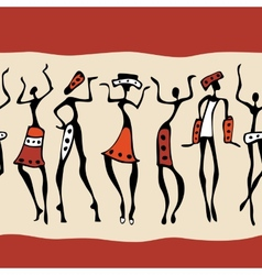 African dancers silhouette vector