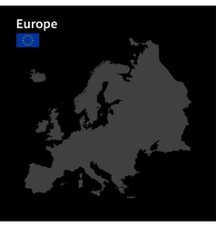 Detailed map of europe with flag on black vector