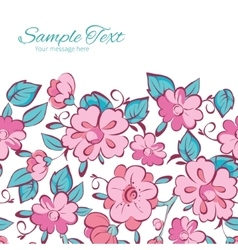 Pink blue kimono flowers horizontal frame vector