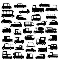 Set of cartoon cars silhouettes vector