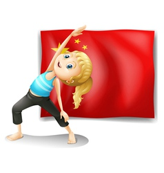 A girl in front of the flag of china vector