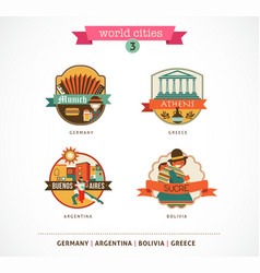 World cities labels - sucre buenos aires munich vector