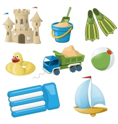 Set of colorful beach toys for kids vector