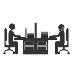 Flat office icon with workers isolated on white vector