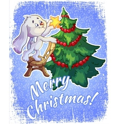 Christmas card with a hare and a christmas tree vector