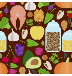 Seamless healthy food pattern vector