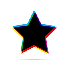 Star flat icon with shadow vector