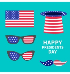 Glasses mustaches hat flag set presidents day vector