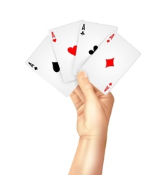 Regular playing cards spread holding hand vector