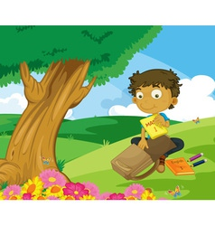 Packing bag in the park vector