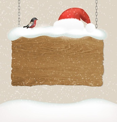 Wooden sign with snow and bird vector