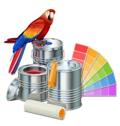 Paint cans with parrot vector