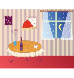 Romantic dinner room vector