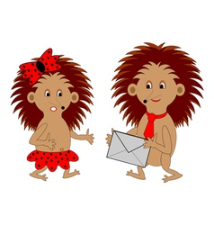 A couple of funny cartoon hedgehogs with a letter vector