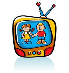 Kids on tv vector