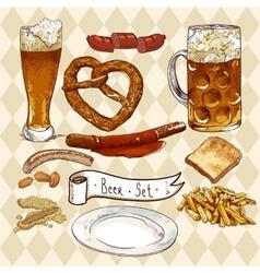 Beer set with beer glasses pretzel sausages vector