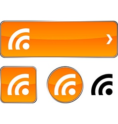 Rss button set vector
