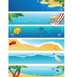Set of 6 summer beach banners vector