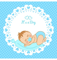 Greeting card with the birth of a boy vector