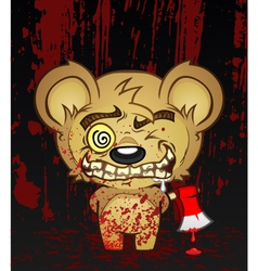 Demented teddy bear cartoon character vector