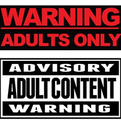 Adult content typographical banners vector