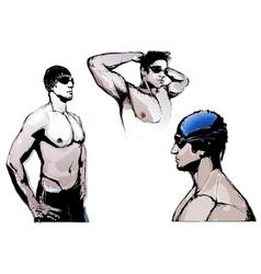 Swimming trio vector