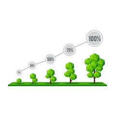 The grow of tree as a percentage infographic of vector