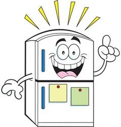 Cartoon refrigerator with an idea vector