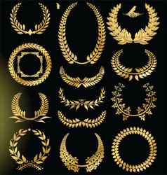 Golden laurel wreath - set vector