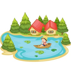 Man in boat vector