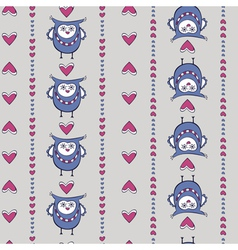 Seamless pattern with owls and hearts vertical vector