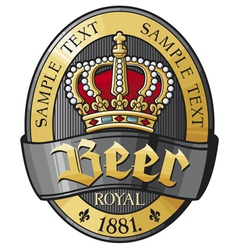 Beer label design with crown vector